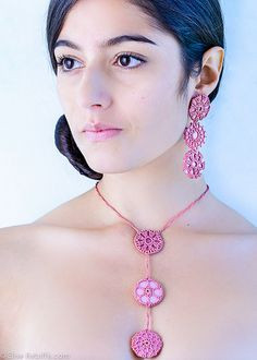 crochet necklace & earrings