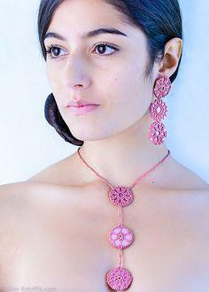 crochet necklace & earrings