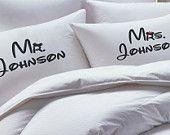 Disney, Inpired, HIs Hers, Mr Mrs Pillowcase Set, His Hers Pillowcase, Mickey Mouse, Minnie Mouse