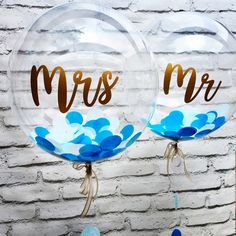 Blue confetti balloons personalised with gold Mr & Mrs message - perfect wedding gifts