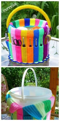 Most up-to-date Pictures Crochet crafts basket Concepts Handicraft Bucket Yarn Hook Organizer Crochet Pattern Crochet Home, Crochet Crafts, Crochet Yarn, Crochet Projects, Free Crochet, Crochet Flowers, Sewing Projects, Crochet Wreath, Diy Projects