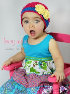 The Bella Rose Beanie - easy pattern, pretty hat. (And how cute is this pic?!)