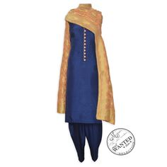 Appealing navy blue unstitched suit featuring in benarasi dupatta-Mohan's the chic window