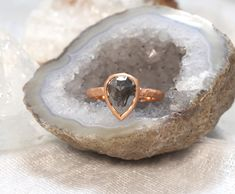 This pear cut salt and pepper diamond is bezel set in a beautiful hammered finished rose gold band. A truly unique engagement ring! Tacori Engagement Rings, Best Engagement Rings, Contemporary Engagement Rings, Vintage Style Rings, Halo Setting, Salt And Pepper Diamond, Types Of Rings, Halo Rings, Unique Rings