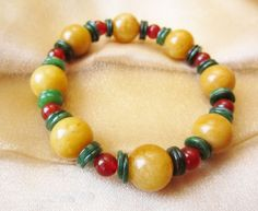 Jadeite & Carnelian beads & Jade Discs stretchy bracelet 6-8 inches long