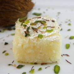 Coconut Burfi -- The coconut burfi, or khopra pak, is made from fine coconut powder. One of our most popular items!