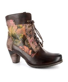 Elite by Corkys Burgundy Floral Prime Hand-Painted Leather Bootie   zulily