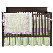 Bacati Flower Basket Lavender and Sage Green Traditional Girls 4 Piece Crib Set