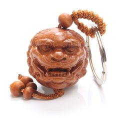 Peach Tree Wood Products China Mythical Beasts Keychain Buddhist Geomantic Supplies Car Key Ring Pendant Keychain