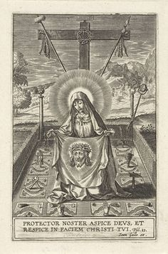 Maria met het sudarium, in een tuin, Hieronymus Wierix, anoniem, Joannes Galle, 1615 - 1676 St Veronica, Art Nouveau Illustration, Jesus Face, Religious Pictures, Demonology, Verona, Blessed Virgin Mary, Roman Catholic, Vintage Prints