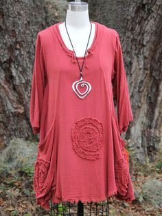 Oh My Gauze Cotton Circle Soutache Lagenlook Tunic Top OSFM M L XL 1x Old Rose | eBay