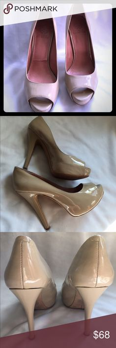 """Vince Camuto 4.5"""" heel VC-MILESY2 patent leather sz 8.5 in amazing shape only wear is inside right foot as pictured and back of left heel very small mark as pictured Vince Camuto Shoes"""