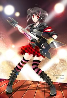 Rock star anime girl. My favorite things ever. Rock, and Anime!