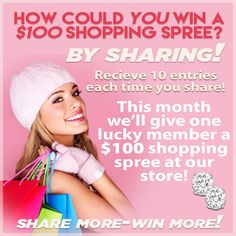 Hmmm.....  What could I get with a $100 shopping spree?  You can find out by becoming a Super Fan and Sharing!  Click Here to find out how!