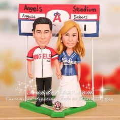$308.00 Los Angeles Dodgers and Anaheim Angels Cake Topper Baseball Theme MLB
