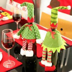 2017 Christmas decorations for Decoration Supplies Red Wine Bottle Cover Material Bags Decoration Home Party Christmas EIK Gift #Affiliate