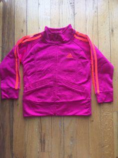 Toddler magenta / neon orange 2 stripe adidas track jacket sz 2t EUC  | eBay