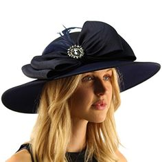 Fancy Jeweled Bow Feathers Luxurious Satin Derby Floppy Dressy Party Hat Navy * Check out this great product.