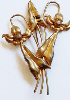 VTG Sterling Silver 925 Rose Gold wash Orchid Flower & Leaf Pin Brooch | eBay