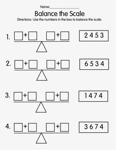 Use the numbers in the box to make both sides of the scale equal.& a great visual have the students& an actual scale and bl. Kids Math Worksheets, Math Activities, Kindergarten Addition Worksheets, First Grade Math Worksheets, Measurement Activities, Kindergarten Curriculum, Balancing Equations, Math Enrichment, Math Patterns