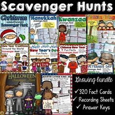 TeachToTell  from  HOLIDAYS: SCAVENGER HUNT BUNDLE {320 FACT CARDS} on TeachersNotebook.com -