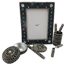 Handmade Gift Lot Set Pen Pot, Mirror, Photo Frame, Jewelry Box Decorative Beaded Mdf Lac Material Table Topper Set of 4 Pcs Christmas Gift Christmas Gift Baskets, Christmas Gifts, Christmas Decorations, Gift Baskets For Him, Mirror Photo Frames, Table Toppers, Jewelry Box, Image Link, Decor Ideas