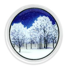 "SB11P, Snowy Night Plate, 11"" - Peggy Karr. Peggy Karr presents the fused glass Snowy Night Plate."