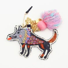 Embroidered Wolf Cell Phone Charm by Tamao World