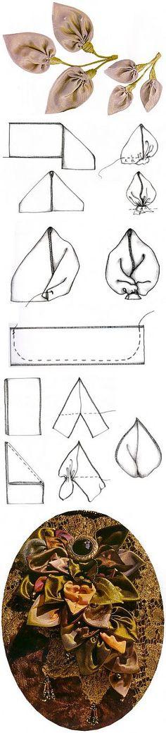 Листья, чашечка и стебель / Цветы из лент и ткани / В рукоделии | Вышивка лентами,изготовление цветов. | Постила