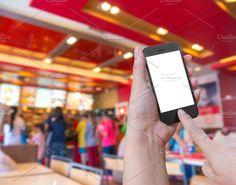 Touch on smartphone, food online by Casanowe-studio on @creativemarket