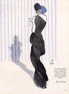 Jeanne Lanvin evening gown illustrated by René Gruau, 1947