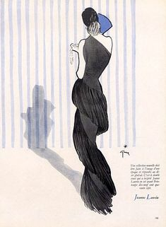 Jeanne Lanvin evening gown illustrated by Rene Gruau, 1947
