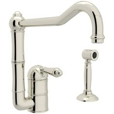 Rohl Polished Nickel Country Kitchen Three Leg Bridge Faucet ...
