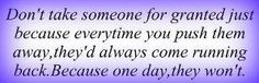 Don't take for granted