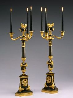 Unknown A pair of Empire four-light candelabra, Paris, date circa Gilt and patinated bronze Height 69 cm, width 24 cm. Antique Brass Chandelier, Gothic Furniture, All Of The Lights, Light Works, Victorian Decor, Empire Style, Lamp Design, Candlesticks, Candle Sconces