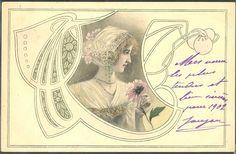 QR123 ART NOUVEAU MM VIENNE HRUBY LADY HEAD Ornaments in FRAME FLOWERS 1902