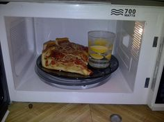 Put a little water in the microwave for things you want to keep crisp