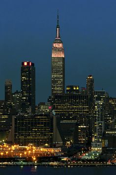 New York City with Empire State Building lit pink for Breast Cancer Awareness Month; photo by .Regina Geoghan