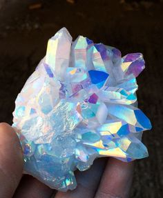 iridescent | mother-of-pearl | gleaming | shimmering | metallic rainbow | shine | opalescent | Iridient |  Angel Aura Quartz cluster crystal Platinum & Silver Coated Rainbows#11