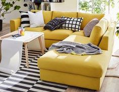 IKEA offers everything from living room furniture to mattresses and bedroom furniture so that you can design your life at home. Check out our furniture and home furnishings! Cozy Sofa, Sofa Set, Ikea Vimle Sofa, Ikea Corner Sofa, Yellow Couch, Ikea Yellow Sofa, Yellow Rugs, Modul Sofa, Living Room Sofa