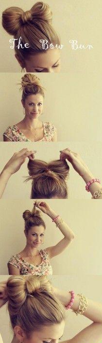 DIY hair bow bun tutorial!