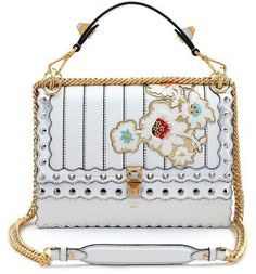 c920fdbbea3f Fendi Kan I Metallic Mix Leather Shoulder Bag - White Embroidered Bag