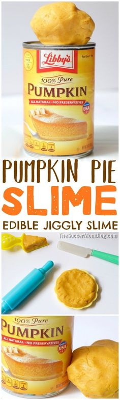 Edible Pumpkin Pie Slime - Thanksgiving sensory play