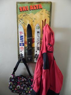 Coat rack made from old skis and a vintage Alta poster.