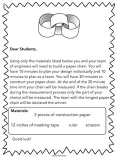 FREE STEM Activity to Build Teamwork: The Longest Paper Chain STEM Activity (Free). {fun get-together activities for the first week} 4th Grade Science, Stem Science, Physical Science, Earth Science, Life Science, Steam Activities, Science Activities, 6th Grade Activities, Measurement Activities