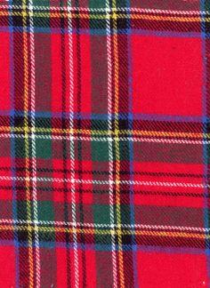 5.49 per yard Cotton Flannel PLaid - Royal Stewart, Red - by the yard