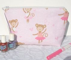 Girl's Zipper Pouch Quilted Bag  Monkey Ballerina by KeriQuilts, $12.00