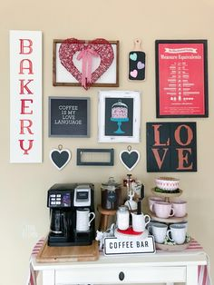 I finally finished up a few changes to the gallery wall. I kept the same basic layout as last time; in fact, I didn't even change or add any new wall screws. I just scooted a few existing signs around Hot Cocoa Bar, Coffee Signs, Cafe Restaurant, Bar Signs, New Wall, Acorn, Valentines Day, Teal, Layout