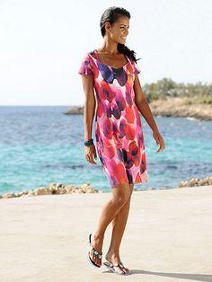 122c5f3eedcb4 Das Sommerkleid von ALBA MODA besticht durch seine farbharmonischen Print  in attraktiver Aquarelloptik Elegante Sommerkleider,