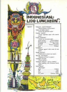 Indonesian Lido Menu Holland American Cruises Program 1983 SS Rotterdam